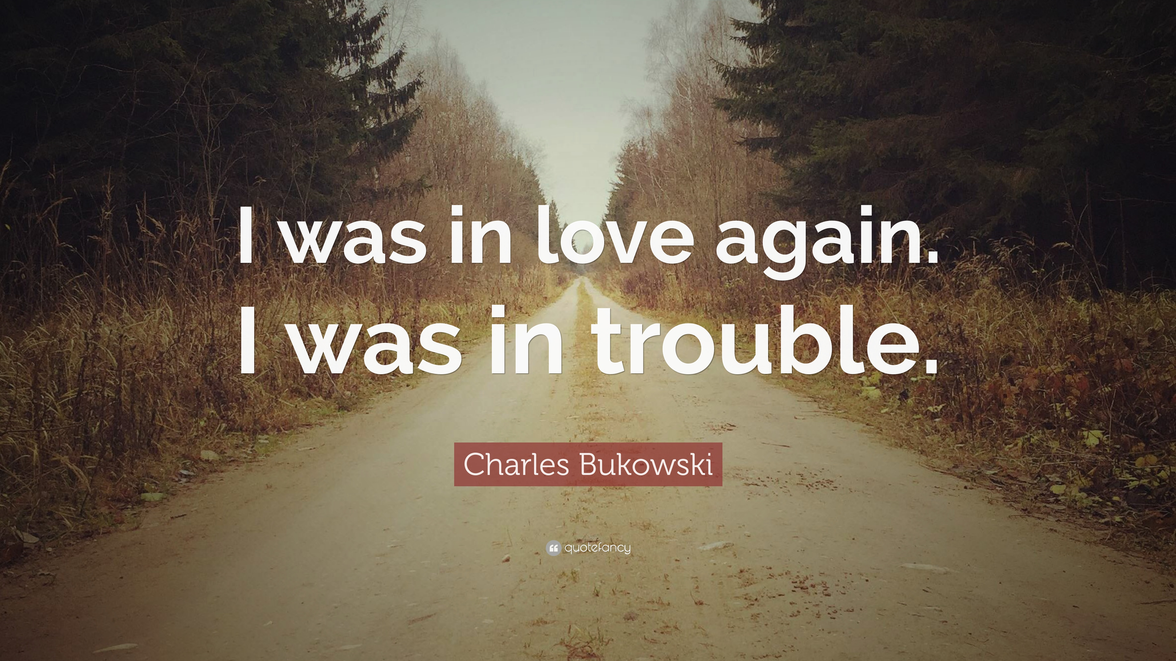 Charles Bukowski Quote: I was in love again. I was in