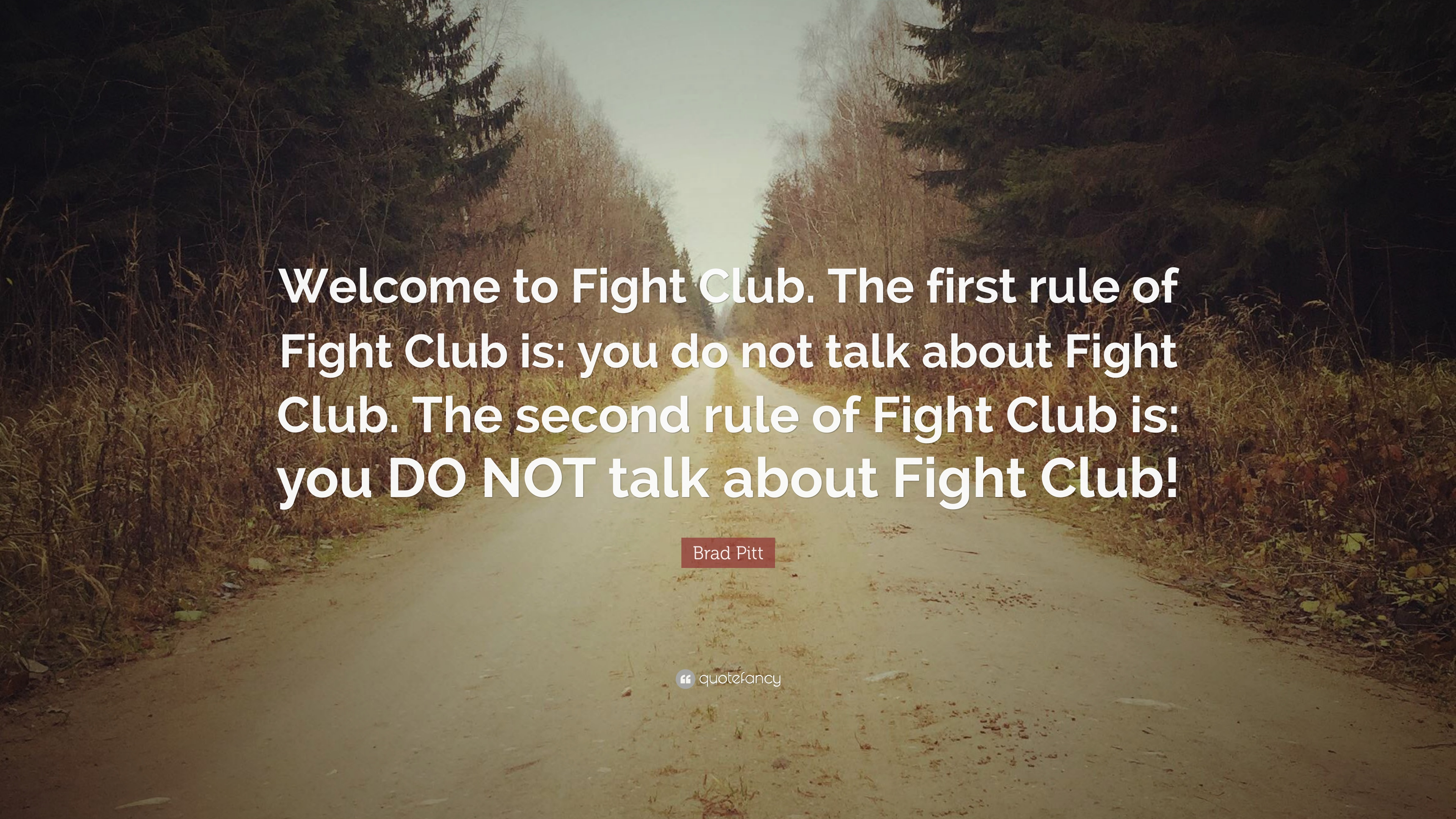 Brad Pitt Quote Welcome To Fight Club The First Rule Of Fight