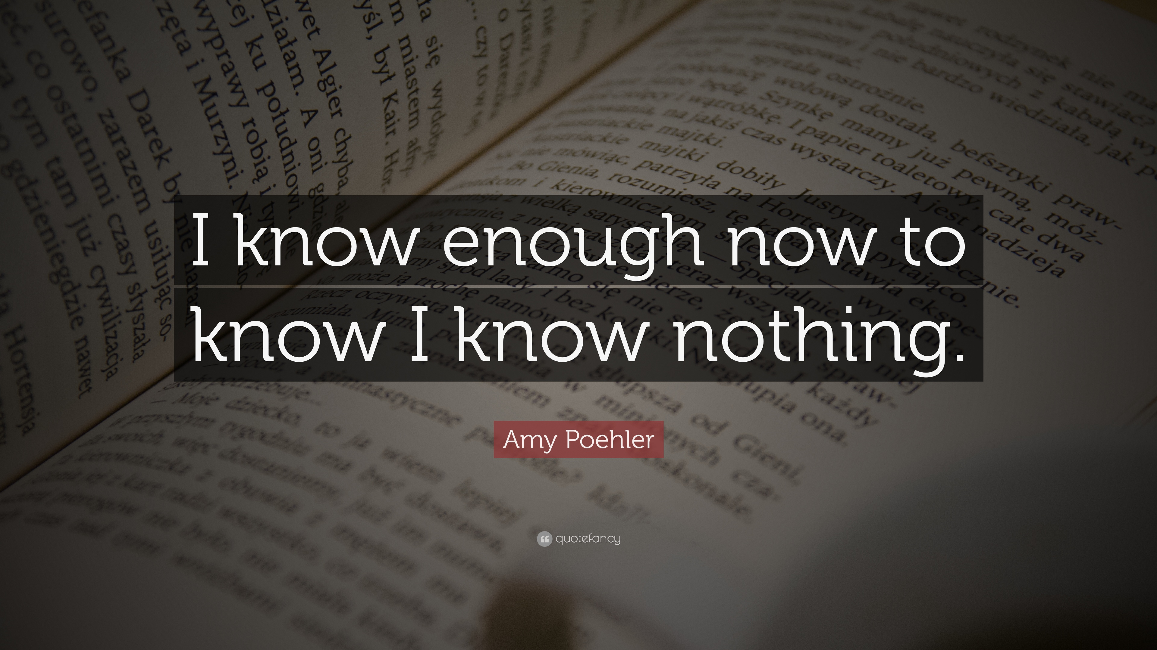 Amy Poehler Quote I Know Enough Now To Know I Know Nothing 7