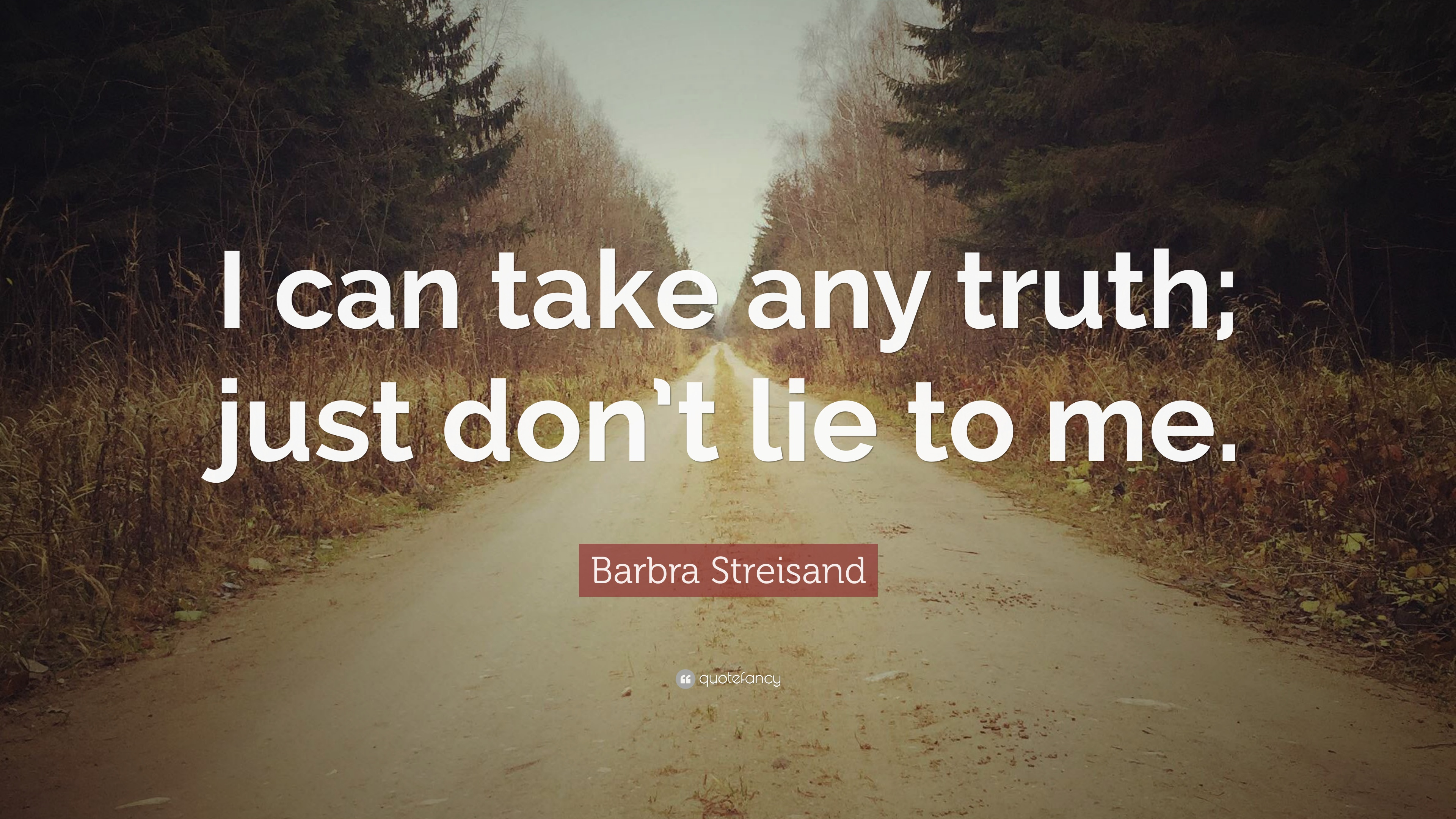 Barbra Streisand Quote I Can Take Any Truth Just Dont Lie To Me