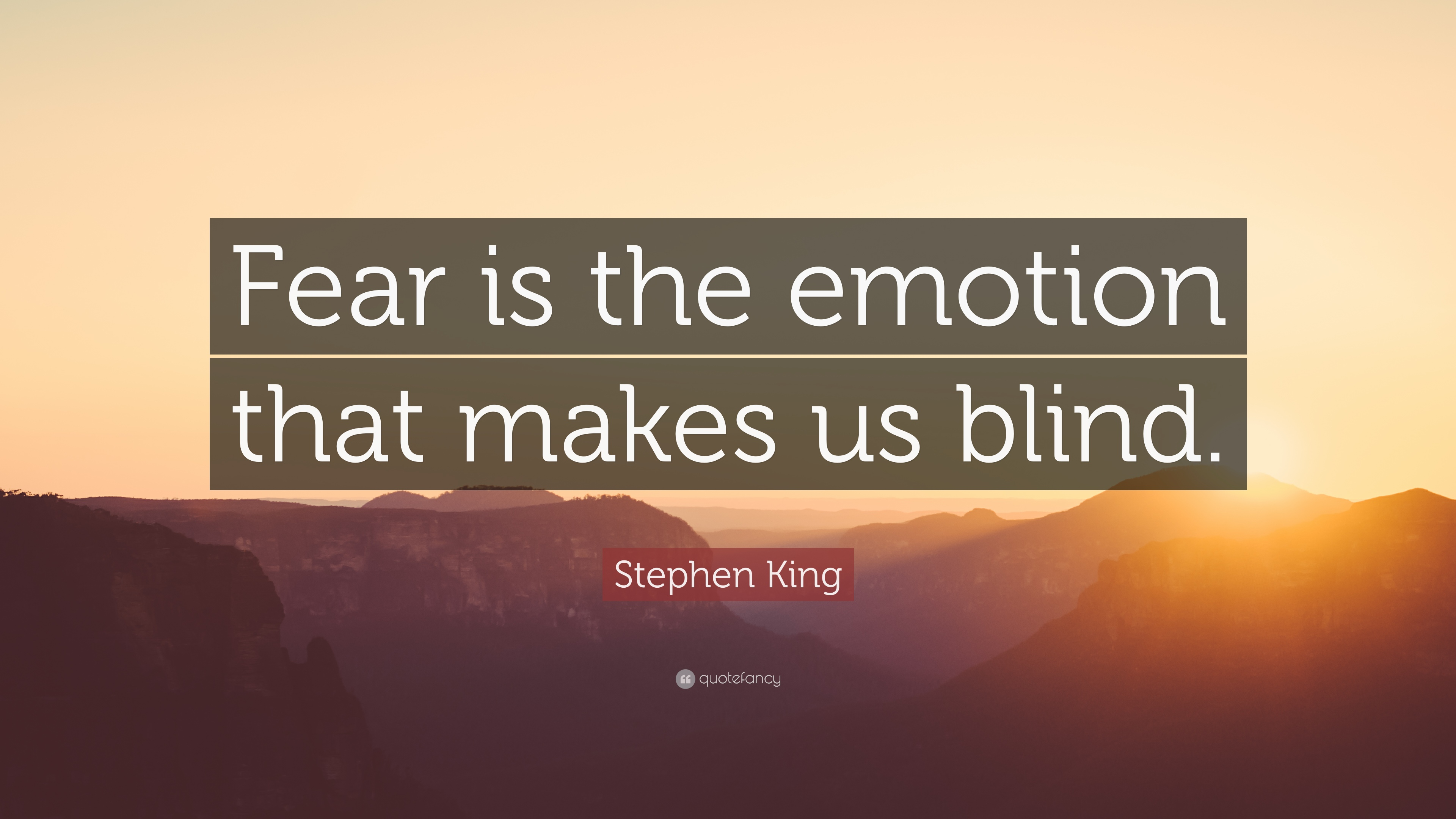 "Blind Quotes Stephen King Quote ""Fear Is The Emotion That Makes Us Blind."" 12"