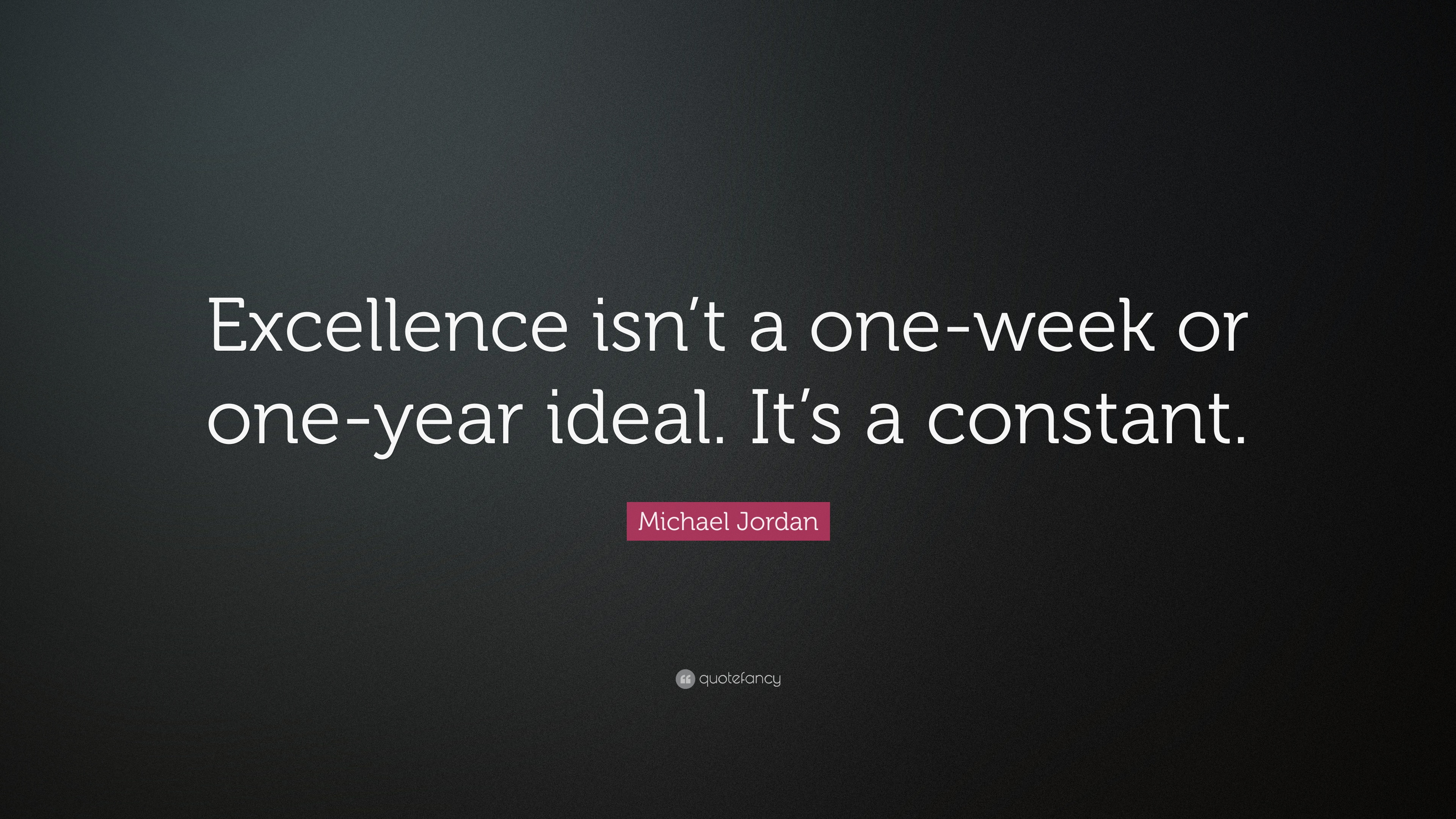 "Michael Jordan Quote: ""Excellence isn\'t a one-week or one ..."
