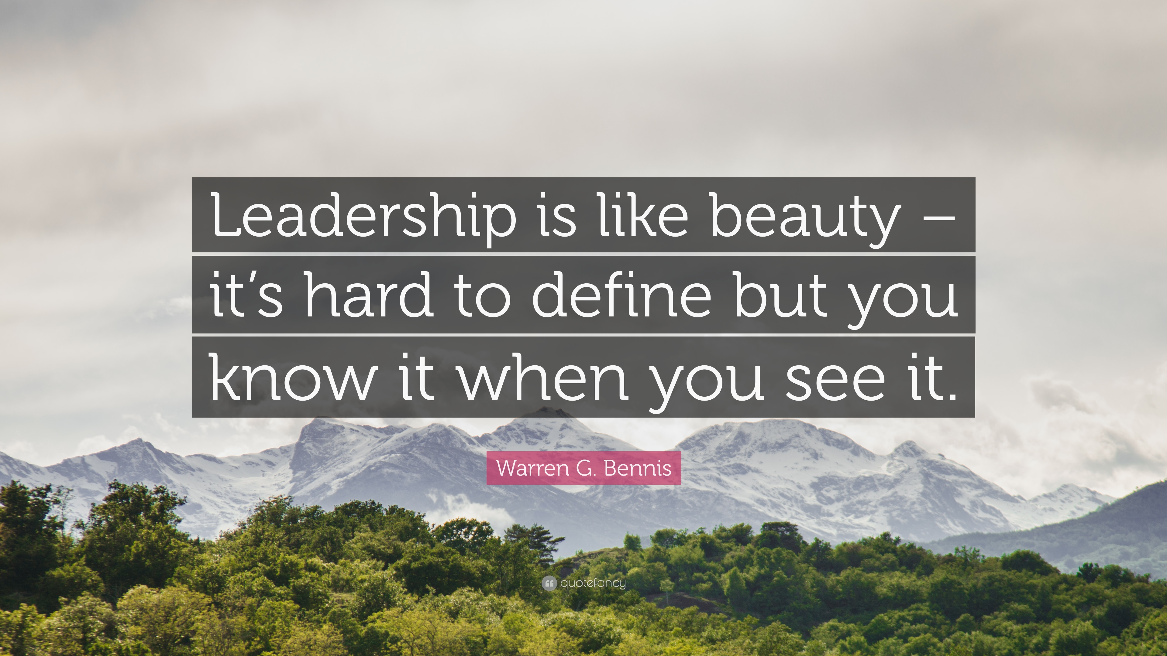 Warren G Bennis Quote Leadership Is Like Beauty Its Hard To