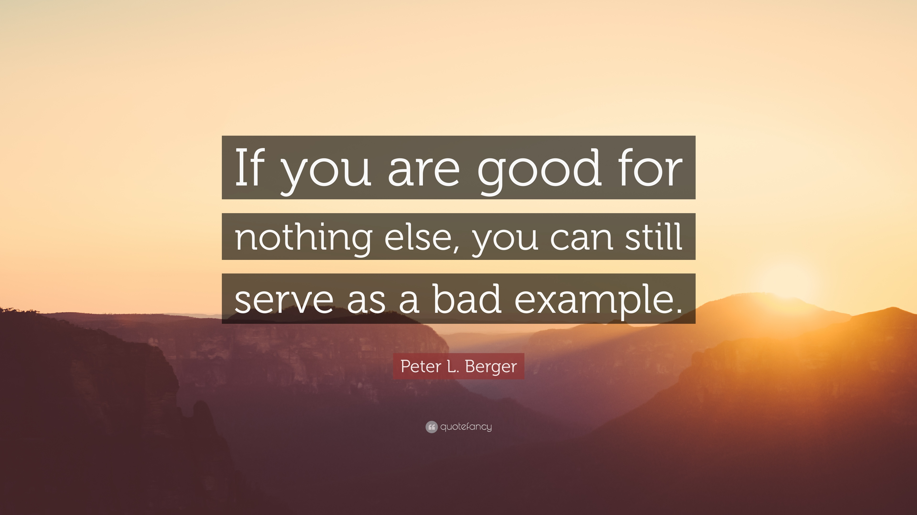 """Peter L. Berger Quote: """"If you are good for nothing else, you can"""