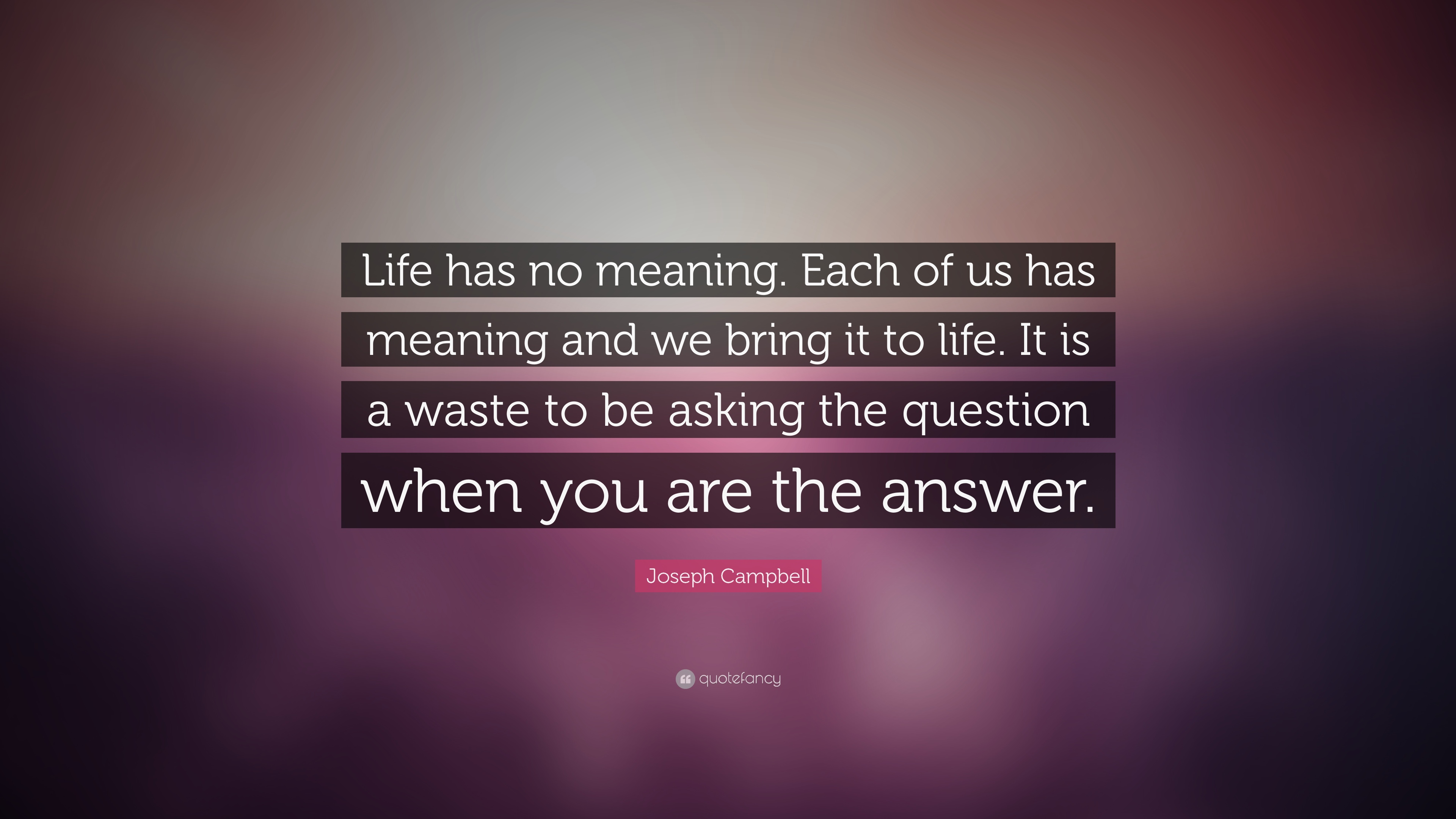 "Meaning Of Life Quotes Unique Joseph Campbell Quote ""Life Has No Meaningeach Of Us Has"
