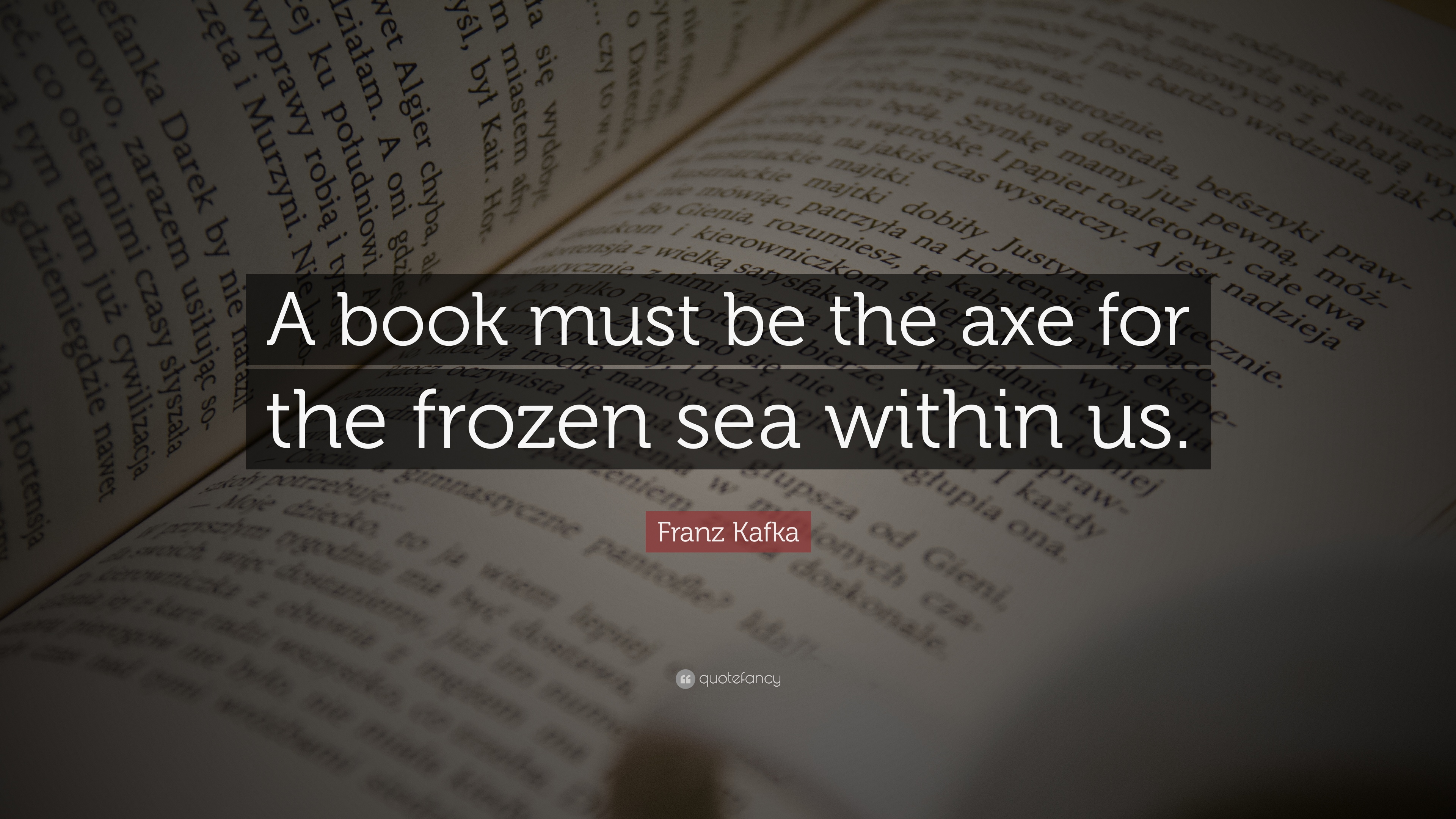 """Kafka Quote Meaning Of Life: Franz Kafka Quote: """"A Book Must Be The Axe For The Frozen"""