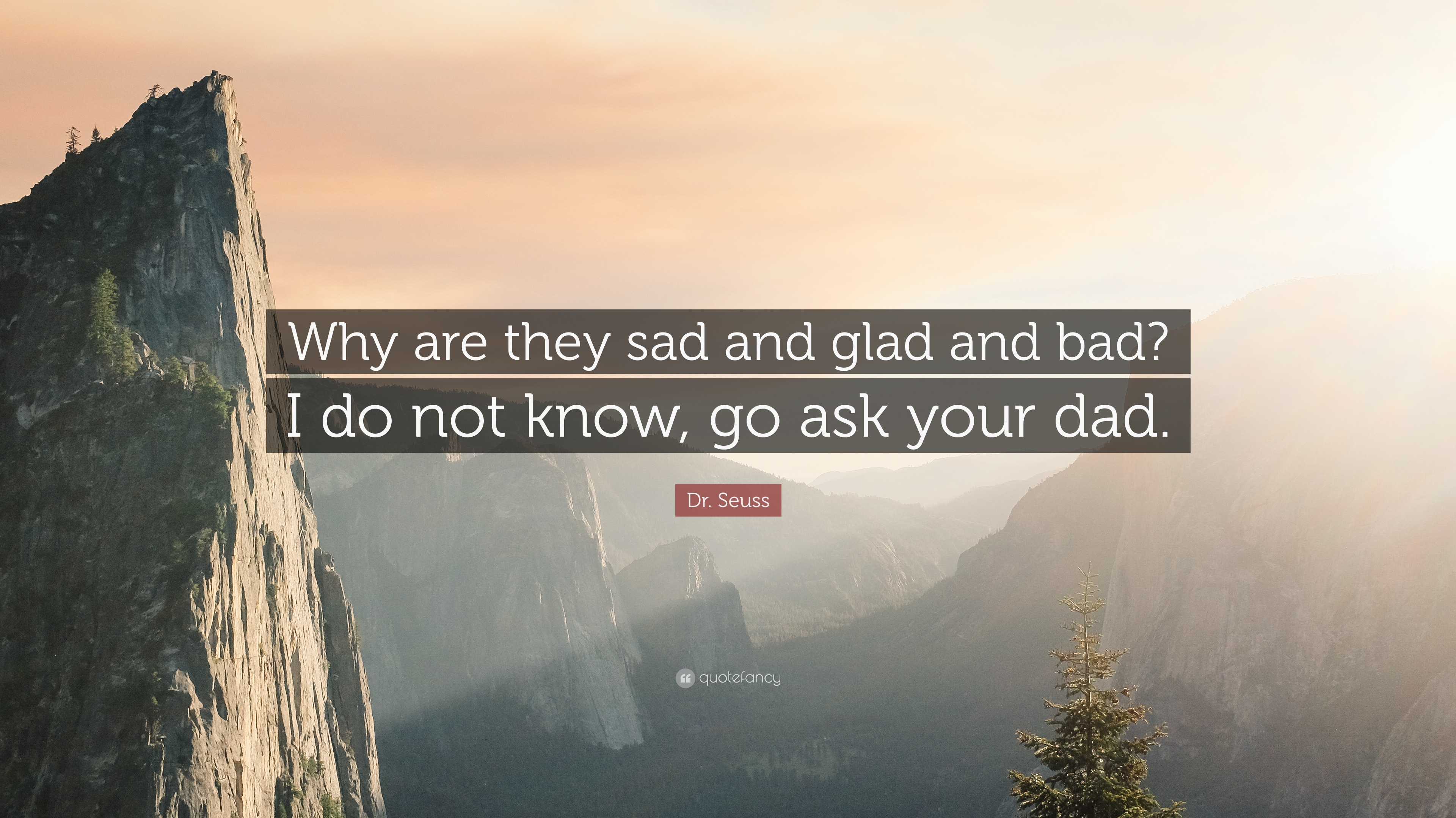 """Dr. Seuss Quote: """"Why Are They Sad And Glad And Bad? I Do"""