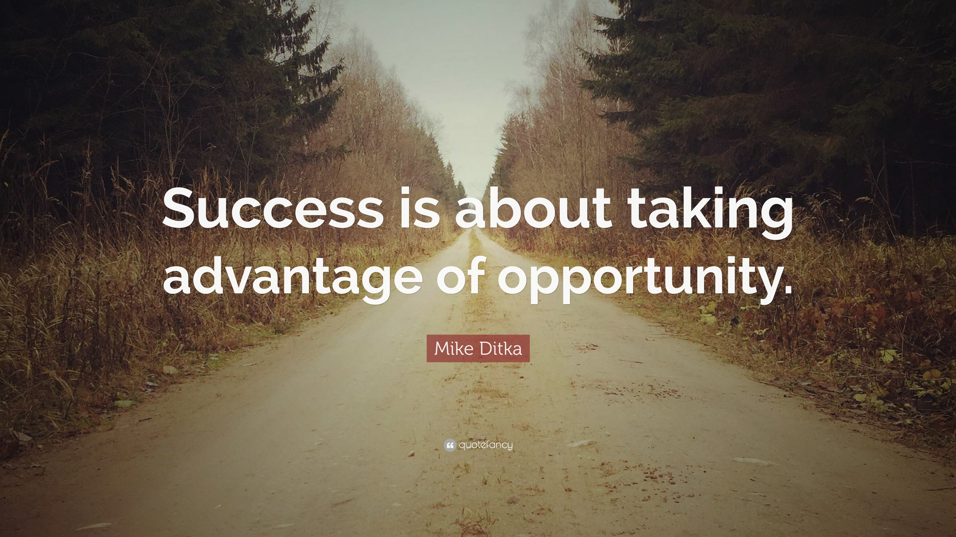 "Mike Ditka Quote: ""Success is about taking advantage of ..."