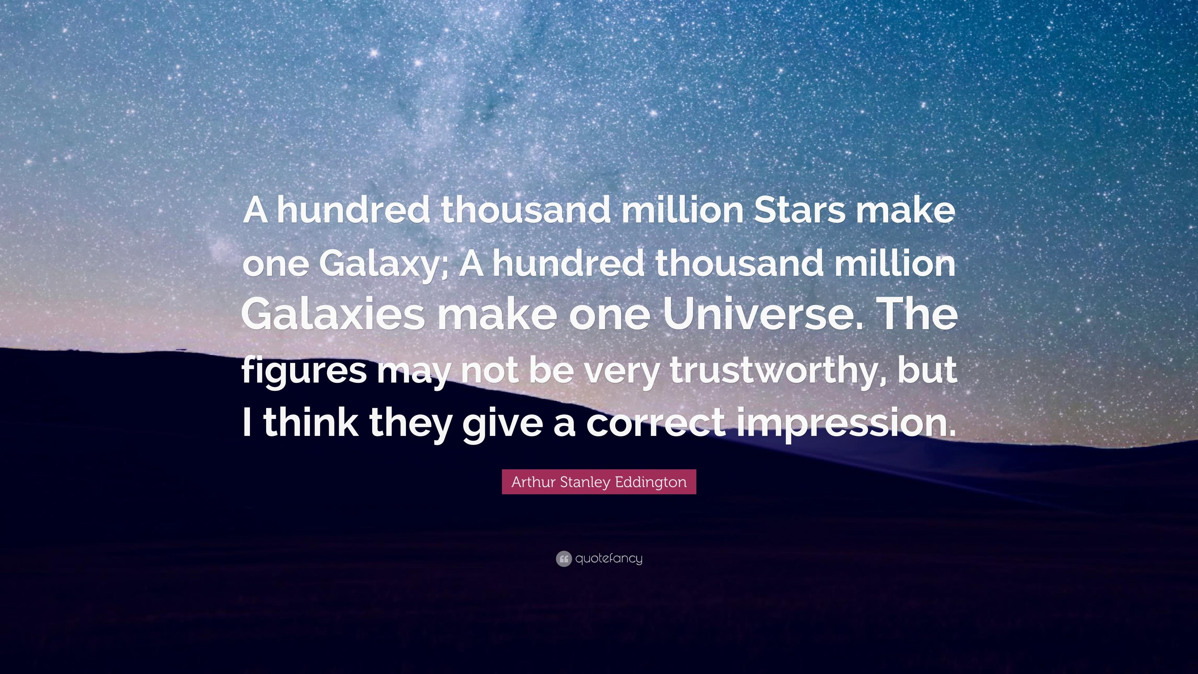 "Galaxy Quotes Arthur Stanley Eddington Quote ""A Hundred Thousand Million Stars"
