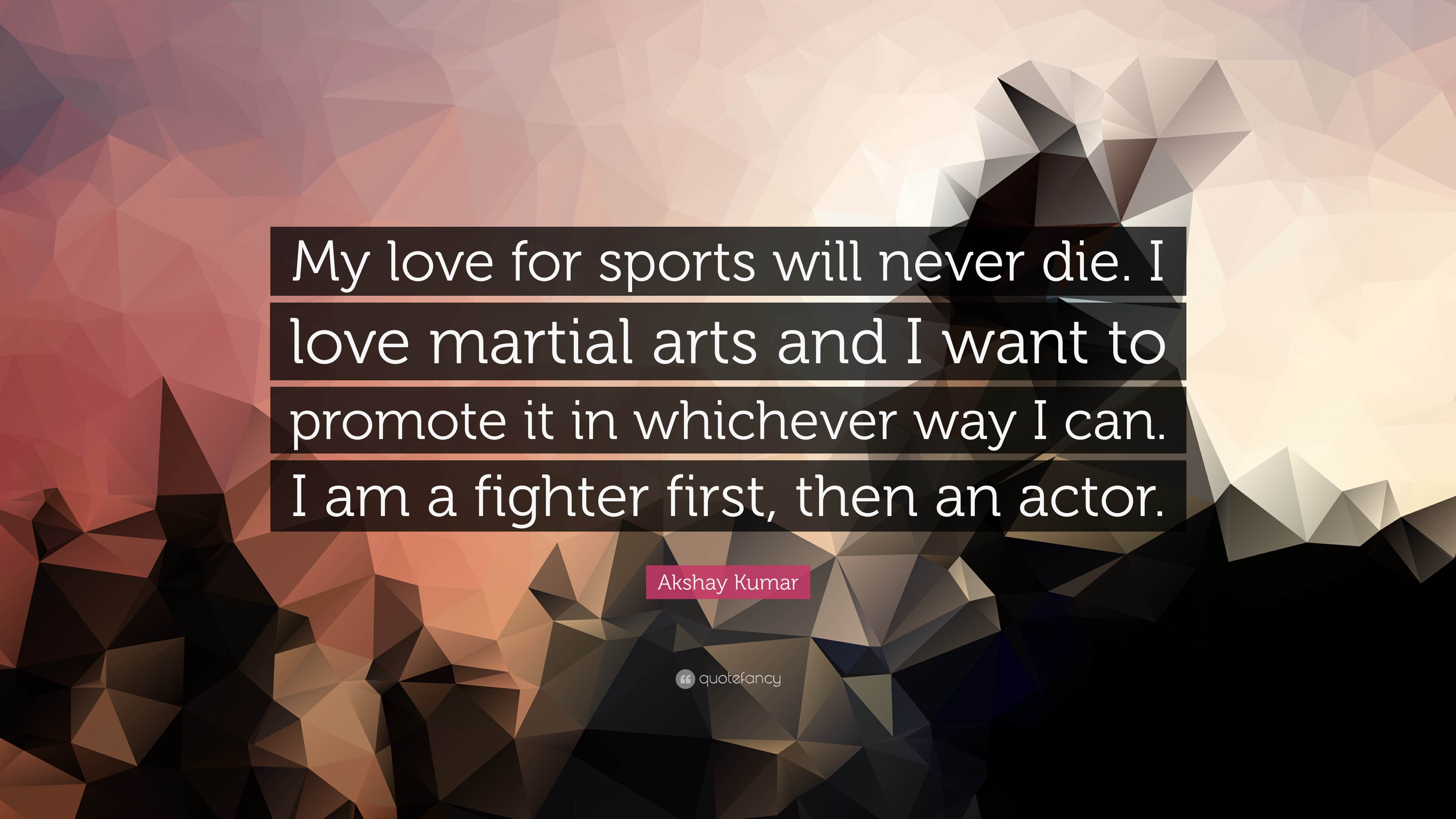 "Akshay Kumar Quote ""My love for sports will never I love martial"