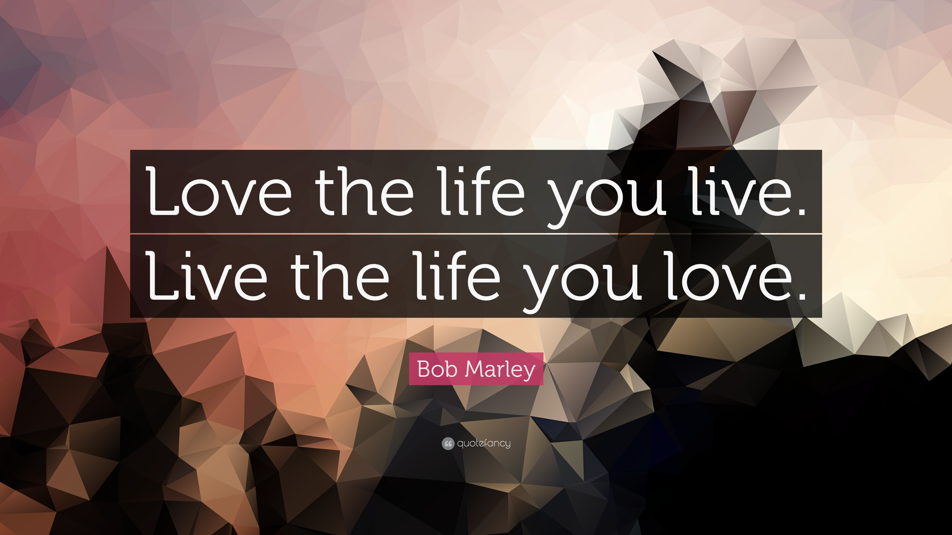 """Bob Marley Quote: """"Love the life you live. Live the life ..."""