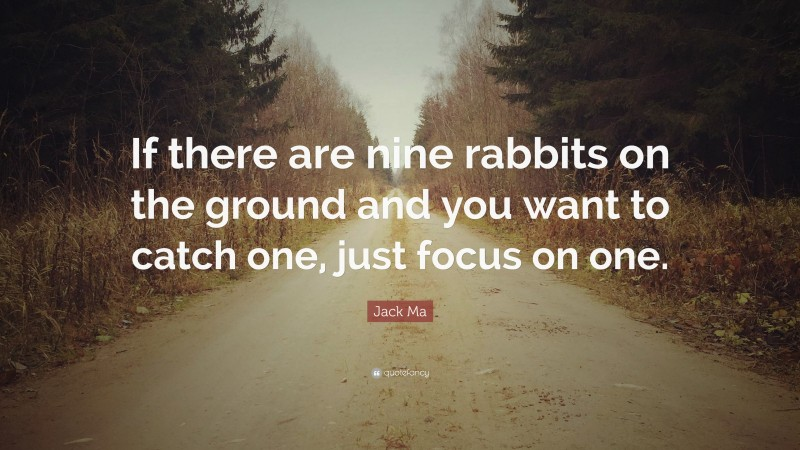"""Jack Ma Quote: """"If there are nine rabbits on the ground and you want to catch one, just focus on one."""""""