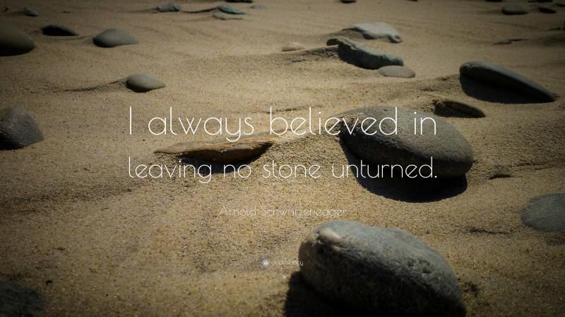 "Arnold Schwarzenegger Quote: ""I always believed in leaving no stone unturned. """