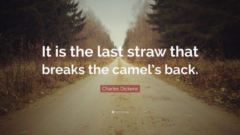"""Charles Dickens Quote: """"It is the last straw that breaks the camel's back."""""""