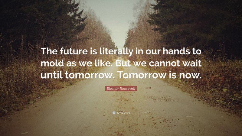 """Eleanor Roosevelt Quote: """"The future is literally in our hands to mold as we like. But we cannot wait until tomorrow. Tomorrow is now."""""""