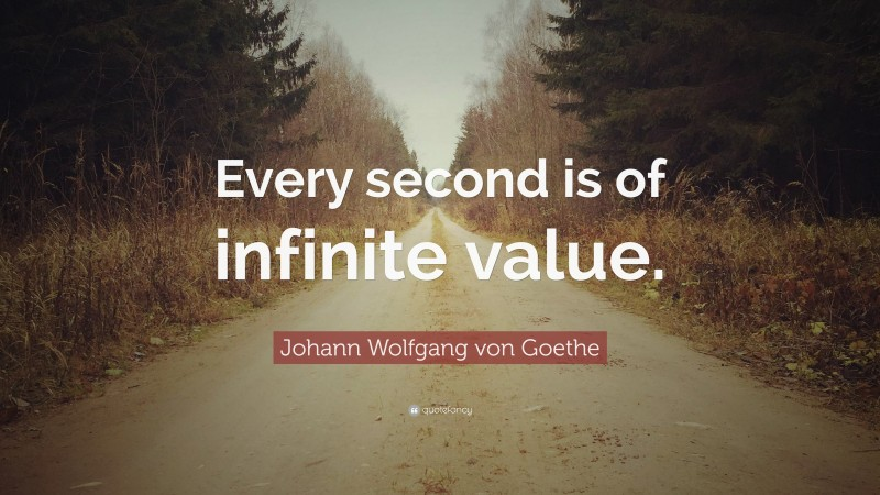 """Johann Wolfgang von Goethe Quote: """"Every second is of infinite value."""""""