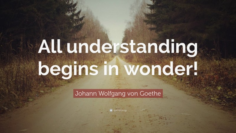 """Johann Wolfgang von Goethe Quote: """"All understanding begins in wonder!"""""""
