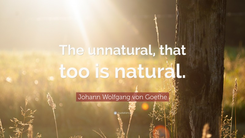"""Johann Wolfgang von Goethe Quote: """"The unnatural, that too is natural."""""""