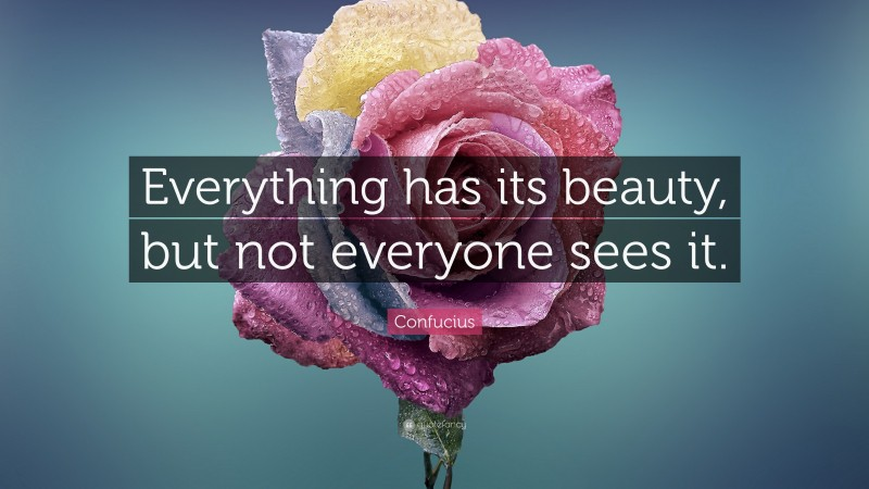 """Confucius Quote: """"Everything has its beauty, but not everyone sees it."""""""
