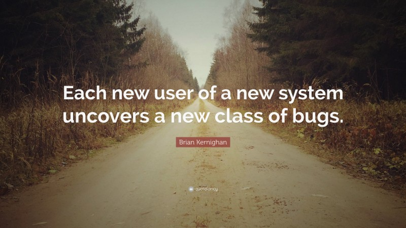 """Brian Kernighan Quote: """"Each new user of a new system uncovers a new class of bugs."""""""