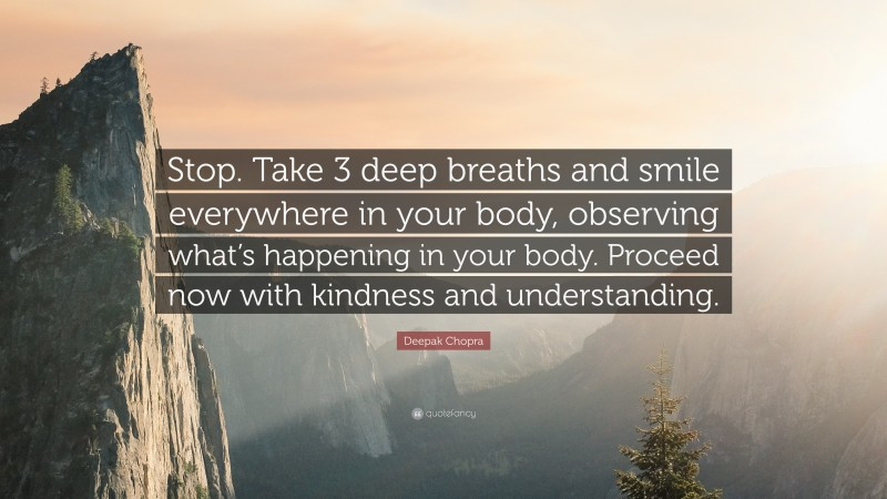 """Deepak Chopra Quote: """"Stop. Take 3 deep breaths and smile everywhere in your body, observing what's happening in your body. Proceed now with kindness and understanding."""""""