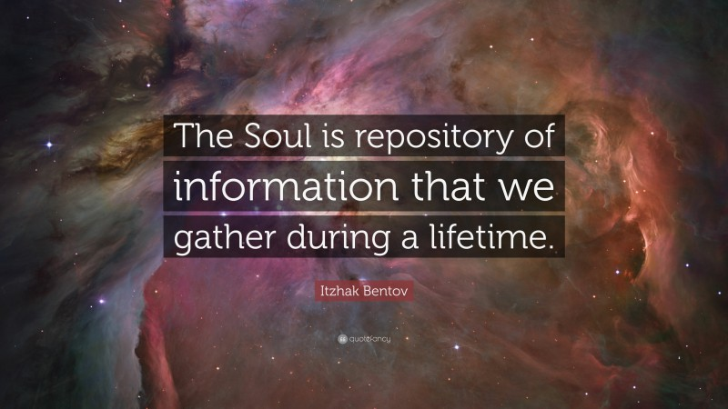 """Itzhak Bentov Quote: """"The Soul is repository of information that we gather during a lifetime."""""""