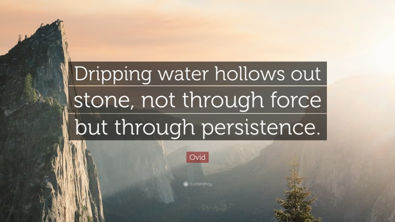 """Ovid Quote: """"Dripping water hollows out stone, not through force but through persistence."""""""