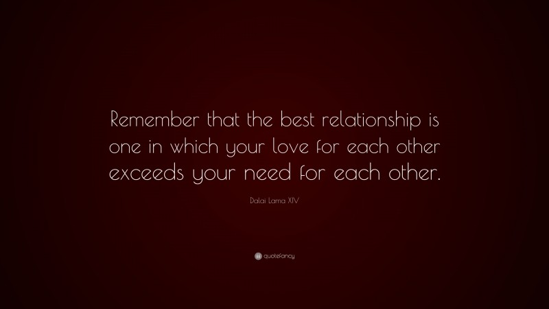 """Dalai Lama XIV Quote: """"Remember that the best relationship is one in which your love for each other exceeds your need for each other."""""""