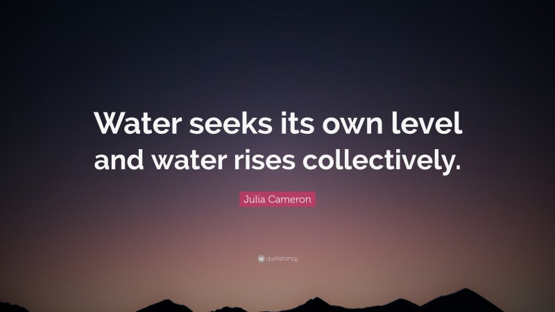 """Julia Cameron Quote: """"Water seeks its own level and water rises collectively."""""""