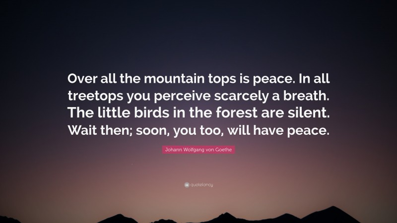 "Johann Wolfgang von Goethe Quote: ""Over all the mountain tops is peace. In all treetops you perceive scarcely a breath. The little birds in the forest are silent. Wait then; soon, you too, will have peace."""