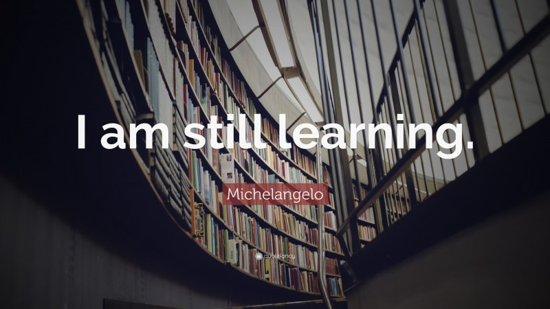 """Michelangelo Quote: """"I am still learning."""""""
