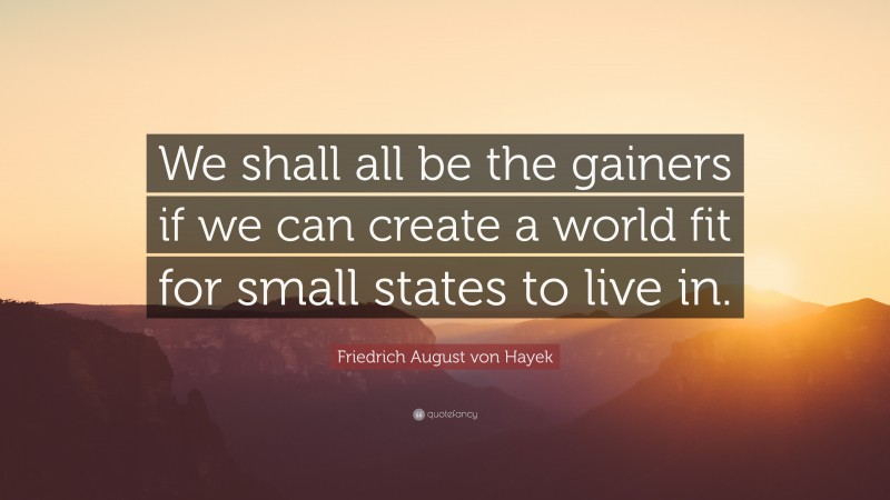 """Friedrich August von Hayek Quote: """"We shall all be the gainers if we can create a world fit for small states to live in."""""""