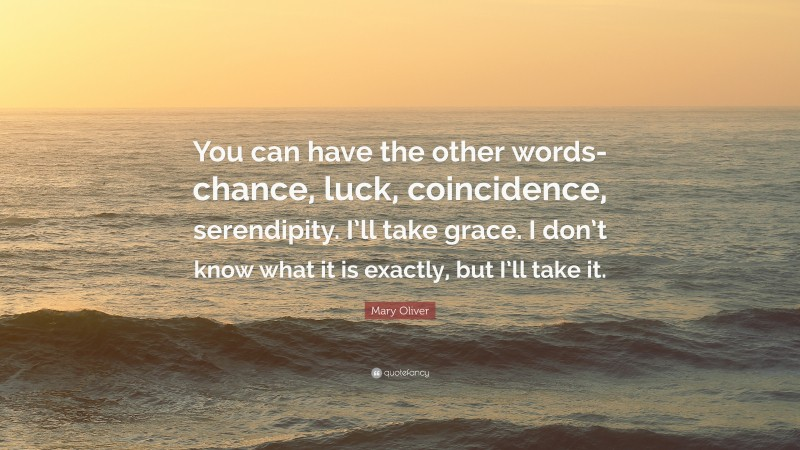 """Mary Oliver Quote: """"You can have the other words-chance, luck, coincidence, serendipity. I'll take grace. I don't know what it is exactly, but I'll take it."""""""