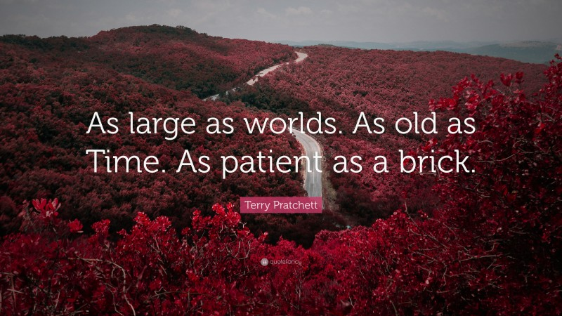 """Terry Pratchett Quote: """"As large as worlds. As old as Time. As patient as a brick."""""""