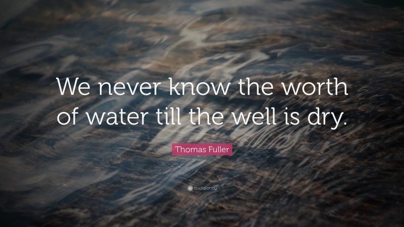 """Thomas Fuller Quote: """"We never know the worth of water till the well is dry. """""""