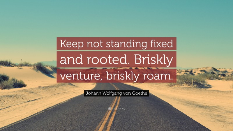 """Johann Wolfgang von Goethe Quote: """"Keep not standing fixed and rooted. Briskly venture, briskly roam."""""""