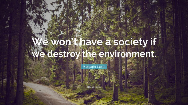 """Margaret Mead Quote: """"We won't have a society if we destroy the environment."""""""