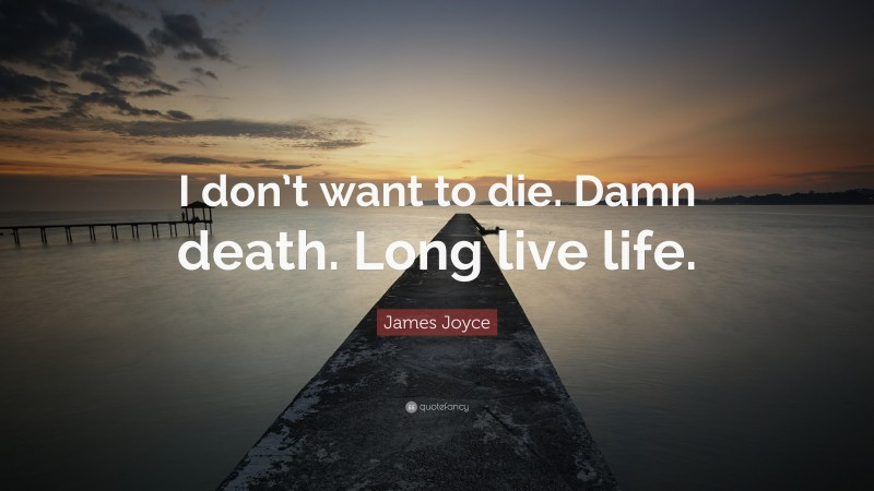 """James Joyce Quote: """"I don't want to die. Damn death. Long live life."""""""