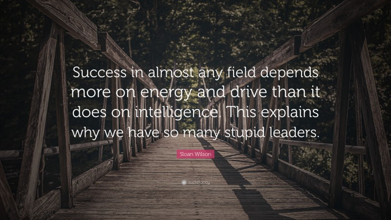 """Sloan Wilson Quote: """"Success in almost any field depends more on energy and drive than it does on intelligence. This explains why we have so many stupid leaders."""""""