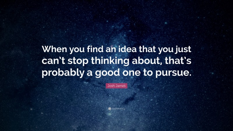 """Josh James Quote: """"When you find an idea that you just can't stop thinking about, that's probably a good one to pursue."""""""