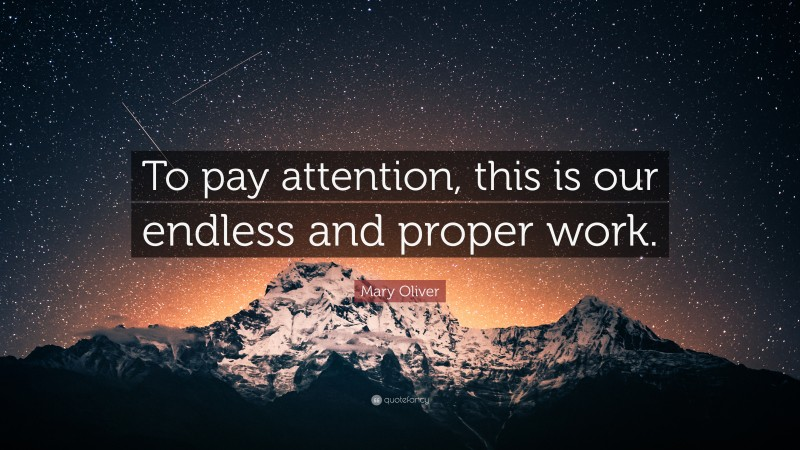 """Mary Oliver Quote: """"To pay attention, this is our endless and proper work."""""""