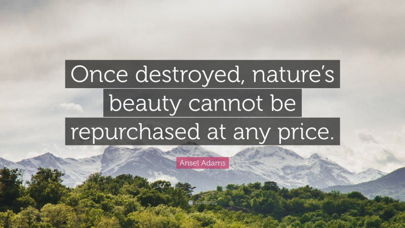 """Ansel Adams Quote: """"Once destroyed, nature's beauty cannot be repurchased at any price."""""""