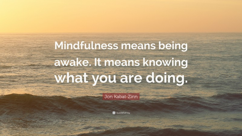 """Jon Kabat-Zinn Quote: """"Mindfulness means being awake. It means knowing what you are doing."""""""