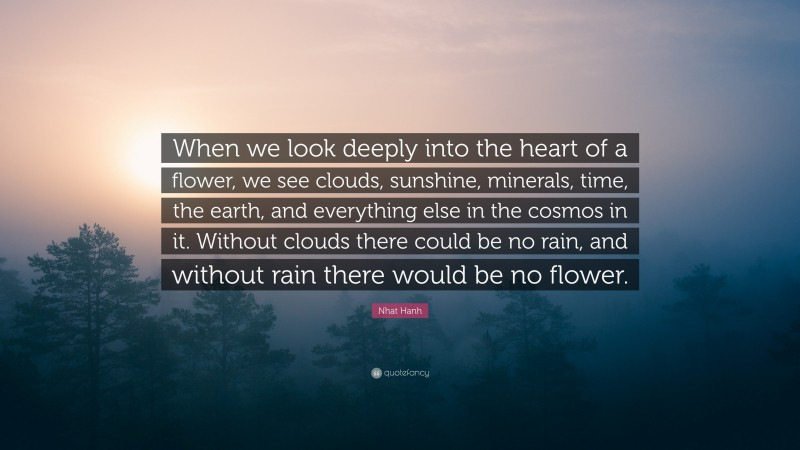 "Nhat Hanh Quote: ""When we look deeply into the heart of a flower, we see clouds, sunshine, minerals, time, the earth, and everything else in the cosmos in it. Without clouds there could be no rain, and without rain there would be no flower."""