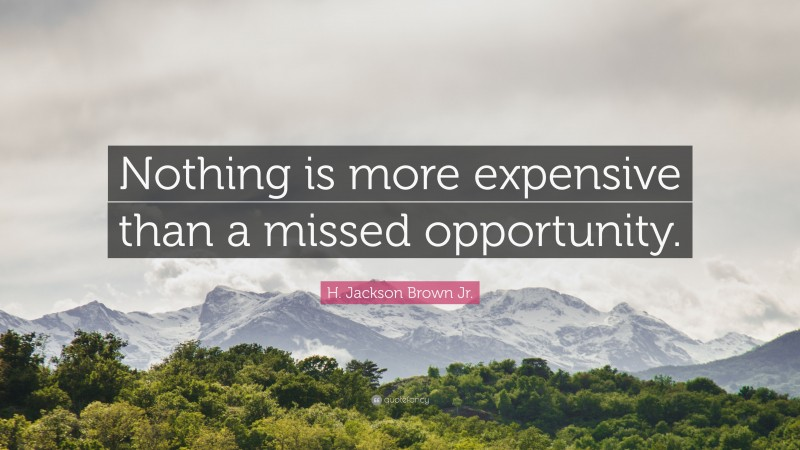 """H. Jackson Brown Jr. Quote: """"Nothing is more expensive than a missed opportunity."""""""