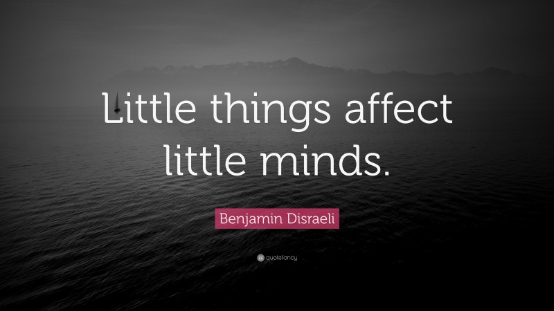 """Sarcastic Quotes: """"Little things affect little minds."""" — Benjamin Disraeli"""