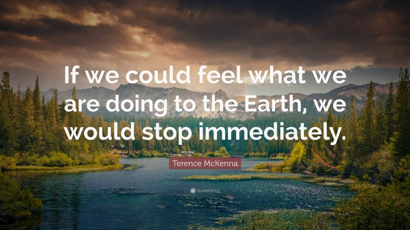 """Terence McKenna Quote: """"If we could feel what we are doing to the Earth, we would stop immediately."""""""