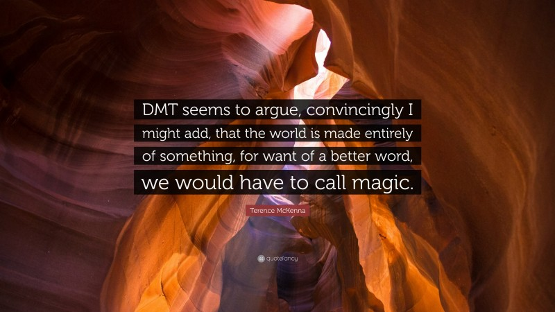 """Terence McKenna Quote: """"DMT seems to argue, convincingly I might add, that the world is made entirely of something, for want of a better word, we would have to call magic."""""""