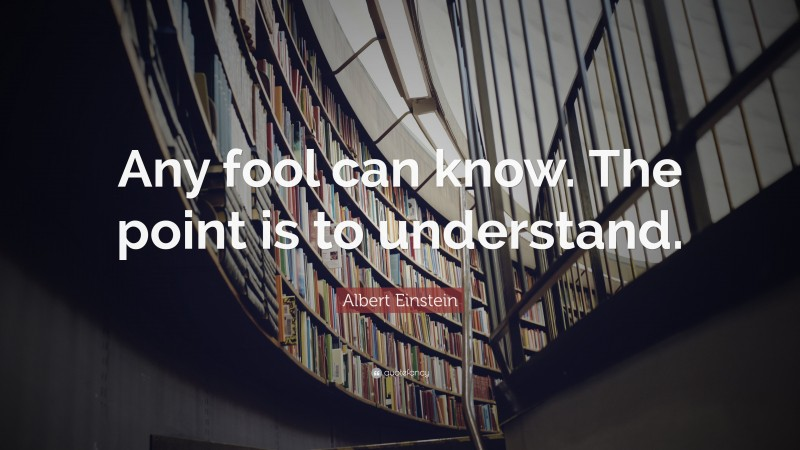 """Wisdom Quotes: """"Any fool can know. The point is to understand."""" — Albert Einstein"""