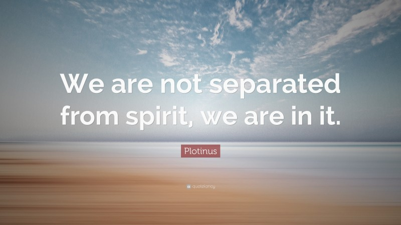 """Plotinus Quote: """"We are not separated from spirit, we are in it."""""""